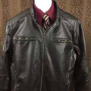 Guess Motorcycle Faux Leather Jacket XL Zip